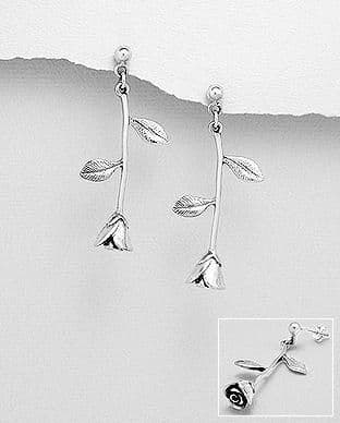 925 Sterling Silver Stem Rose Drop Earrings